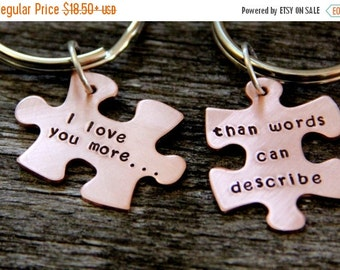 SALE Gift For Husband / Puzzle Piece / His One Her Only / Anniversary Gift / Hand Stamped Personalized / Valentines Gift Wife/ Wedding