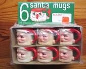 1960s-1970s Santa Claus Winking Mugs MIP NOS / unused / original packaging / Christmas Holiday decor decoration / kitsch Santa Claus