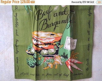 25%SALE Vtg Beef and Burgundy recipe towel / midcentury-1960s / foodie kitchen chef gift