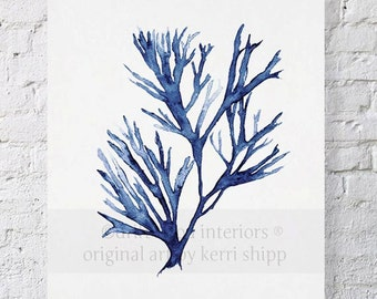 "Seaweed Wall Art Print in Denim Blue 12""x16"" - Blue Coral Art - Blue Seaweed Print - Coral Art Print - Seaweed V in Denim Blue 11x14"