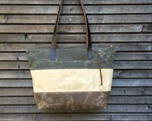 Extra large waxed canvas tote bag  with  leather handles, 3 color bag COLLECTION UNISEX