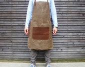 Waxed canvas and leather apron / craftsman's apron / sturdy barber's apron