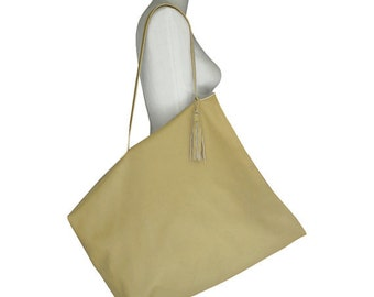 BIG LEATHER TOTE Bag Palomino Goatskin 20 x 18 Handstitched Leather Bag Yellow Leather Tote Bag Handmade Leather Tote One of a Kind Tote Bag