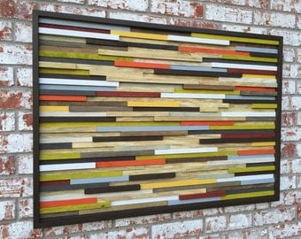 Wood Wall Art - Skinny Rectangles - Reclaimed Wood - Abstract Sculpture 42X30