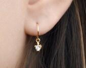 Tiny Zirconia Drop Earrings, Sterling Silver, Gold Plated Pendulum Earrings, Minimalist Dangle Earrings, Lunaijewelry Gift for mom DGE001WCZ