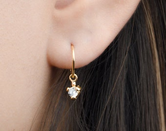 Tiny Zirconia Drop Earrings, Sterling Silver & Gold Plated, Pendulum Earrings, Minimalist Dangle Earrings, Fashion Jewelry, Gift mom, DGE001