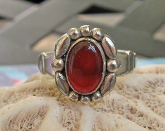 Vintage Bell Trading Post Sterling Silver and Carnelian Ring Size 5.75