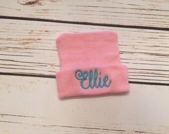 Pink newborn monogrammed hospital hat