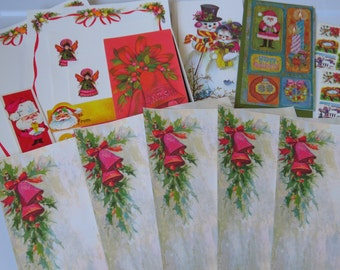 35pc Vintatge 1960's Christmas Stationery Gift Tags & Greeting Card Lot