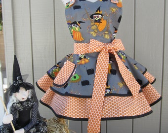 SALE! HALLOWEEN WITCHES Apron for  the Holidays in a Womens Retro Style Two Tiered