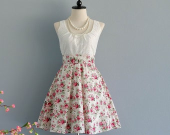 SALE S White lace dress white dress pink floral dress white floral dress white bridesmaid dresses floral bridesmaid dresses