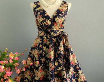 My Lady II Spring Summer Sundress Navy Roses Floral Dress Party Dress Floral Tea Dress Navy Floral Bridesmaid Dress Vintage Inspired XS-XL