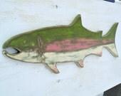 SALE rainbow trout wood wall art