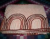 Vintage Chenille Bedspread, Orange and Brown, Cutter