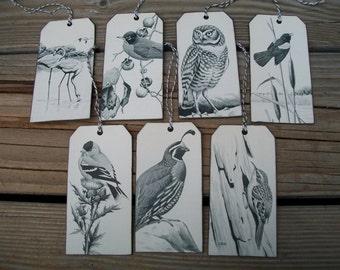 I LOVE BIRDS, Vintage Bird Hangtags, Handmade, Black and White, Bird Tags
