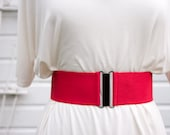 "Womens red elastic cinch belt - 3"" wide, custom made to fit"