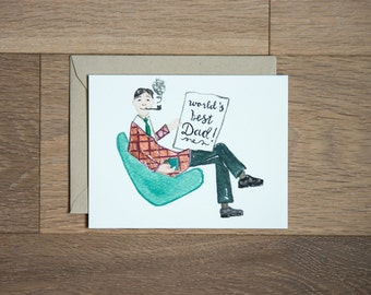 World's best dad card for fathers day, fathers day card dad card retro illustrated hand lettered