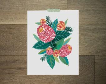 Pink and green botanical art print, 8 x 10 print, blossoms, flower art