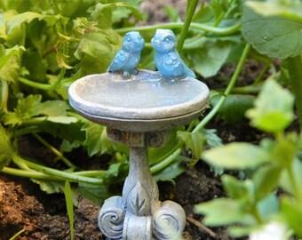 Fairy Garden Birdbath Bluebird and Baby Birdbath Fairy garden Miniatures fairy Garden Accessories
