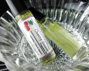 CHERRY BOMB Roll On Perfume Fragrance, Black Cherry Perfume, BPA Free Glass Bottle, Moisturizing Jojoba Oil Pin Up Rockabilly