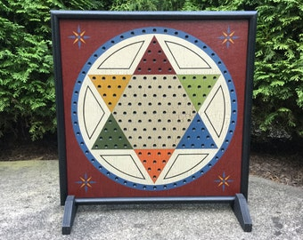 Chinese Checkers, Game Board, Wood, Primitive, Folk Art, Game Boards, Wooden