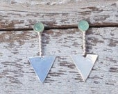 Tribal Sterling Silver Earrings,  geometric earrings sterling silver, Aqua chalcedony earrings,  Triangle post earrings,Native American