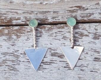 Tribal Sterling Silver Earrings,  geometric earrings sterling silver, Aqua chalcedony earrings,  Triangle post earrings,Native American