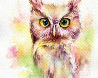 PRINT –Fantasy Owl Watercolor painting 7.5 x 11""