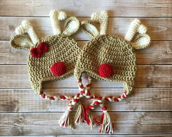 Twin Reindeer Beanies in Taupe, Ecru and Red Available in Newborn to Child Size- MADE TO ORDER