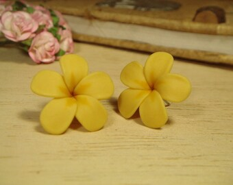 Sweet Custard Brown Plumerias Frangipani Stud/Post Earrings