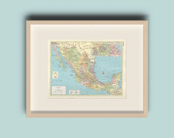 Vintage 1959 Mexico Map Instant Download Printable Map Home Library Decor Wall Art