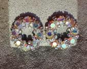 Eternity Vintage  Earrings, Eternity Wedding Earrings, All Bright AB Rhinestones
