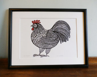 Cockerel, Original Linocut Print, Signed Limited Edition of 50,  Free Postage in UK, Hand Pulled, Printmaking,