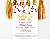 Confetti Glitter Invitation - Pink, Black, Gold Confetti - Stylish Confetti - PRINTABLE or Printed Invitations