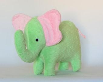Stuffed Elephant Toy - Green and Pink Minky Plush Elephant - Elephant Toy -Nursery Decor - Baby Christmas Gift - Kids Christmas Gift