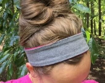 Solid REVERSIBLE cotton/spandex Headband Running Headband