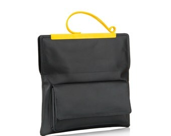 Leather Clutch Bag | Gifts for Women | Evening Bag | Black Leather Bag | Black Leather Clutch | Yellow Handles | Clutch Purse | Clutch