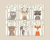 Forest Animal Prints, Animal Nursery Art, Woodland Nursery Decor, Baby Room Decor, Set of 6 Fox Rabbit Bear Squirrel Owl Raccoon
