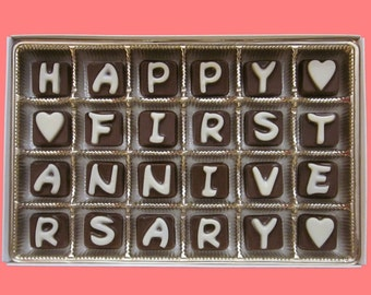 One Year Anniversary Gift for Men Boyfriend Gift for Girlfriend Woman Happy 1st First Anniversary Cubic Chocolate Letters by What Candy Says