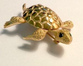 Vintage Monet Signed Gold Turtle Green Rhinestone Eyes  Online Vintage, vintage clothing, home accents, vintage dress
