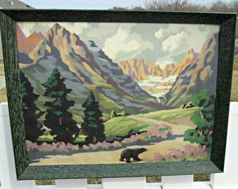 Vintage Paint By Number Mountains and Bear PBN Landscape Wall Hanging with Great Green Rustic Wooden Frame - Ready to Hang in Your Cabin