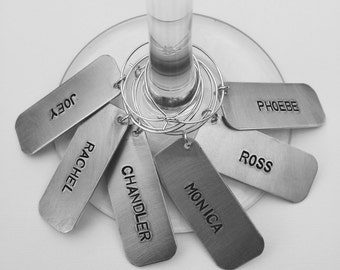 6 Hand Stamped FRIENDS THEMED Wine Charms / unique hostess gift / personalized wine charms / unique wedding present / girls night gift