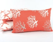 "Star Fish Coral Reversible Throw Pillow Cover 12x20"" Lumbar Bright Sea Life Home Beach Decor, Orange, Wonders of the Seas Salmon"