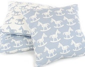 "Blue Rocking Horse Pillow Cover (18""x18""), Reversible, Animal Pillow, Baby Boy Nursery Pillow, Throw Pillow, Machine Washable!"
