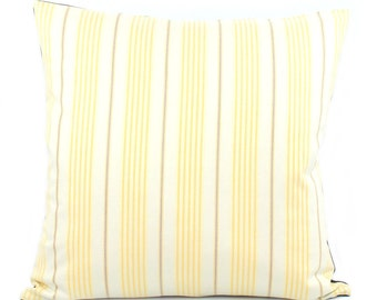 """Yellow Vertical Stripe Throw Pillow Cover 20x20"""", Yellow Pillow, Pillow with Denim, Yellow and White Cushion Cover, Square Pillow, Urban"""