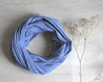 Indigo blue scarf  wrinkle natural cotton  naturally hand dyed cotton scarf extra large