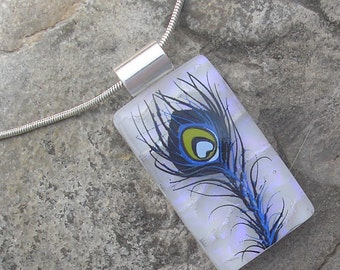 Peacock Feather Necklace Fused Dichroic Glass Feather Pendant