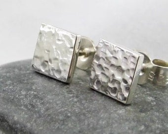 Sterling Silver Hammered Square Ear Studs  6mm - Handmade By CMcB Jewellery - Free UK postage