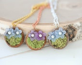 flower necklace, Natural acorn cap necklaces, pastel