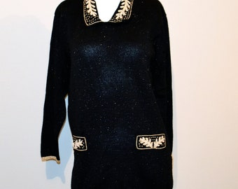 Vintage Sweater Black with Gold and Pearl Baroque